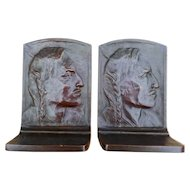 Indian Warrior Bronze Bookends, A. H. Sander