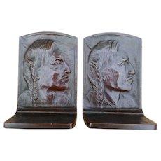Indian Warrior Bronze Bookends, A. H. Sander