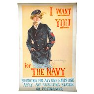 """I Want You For The Navy"" Poster, 1917, Howard Chandler Christy"