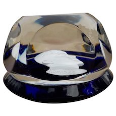 Baccarat's John Fitzgerald Kennedy Sulphide Paperweight in Blue