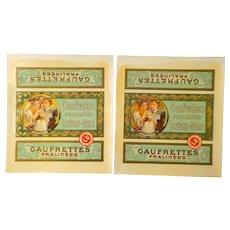 Alphonse Mucha - 2 Champenois Gaufrettes Pralines Lefevre-Utile Biscuit Labels, Varnished