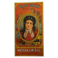 Black Swan Tobacco Caddy Label - Watson & McGill, Hoen & Co