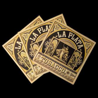 La Plata Tobacco Labels - 3 Caddy Labels, A. Hoen & Co.