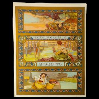 Alphonse Mucha Lefevre-Utile Biscuits Label, Linen Backed