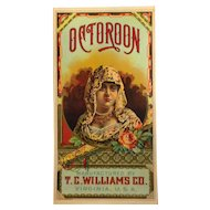 Octoroon Tobacco Caddy Label - T. C. Williams Co., A. Hoen & Co.