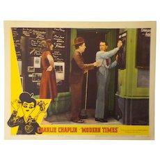 "Lobby Card - Charlie Chaplin ""Modern Times"", 1959"