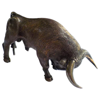 Miniature Bronze Bull, Vintage