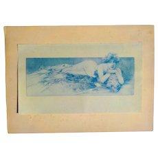 "Alphonse Mucha ""Nude on Bearskin Rug"", In Blue, Pl 4 Documents Decoratifs Par A. M. Mucha"