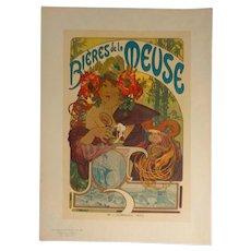 Alphonse Mucha Pl 182 Bieres de la Meuse, Les Maitres de L'Affiche, Imprimerie Chaix