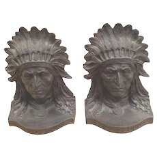 Red Cloud Bronze Bookends, Adam Rose Sc., American, Early 20th c