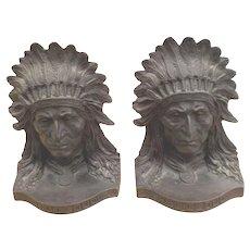 Red Cloud Bronze Bookends, Adam Rose Sc., American, Early 20th c