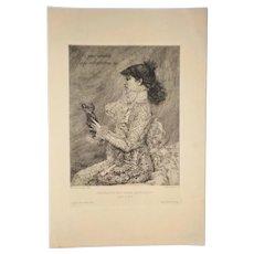 Sarah Bernhardt Engraving, Rios after Bastien-Lepage, Gazette des Beaux-Arts, A. Salmon