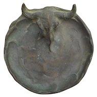 Steer Skull Bronze Dish, Vintage