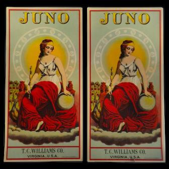 Juno Tobacco Labels - 2 Tobacco Caddy Labels, T.C. Williams Co., A. Hoen