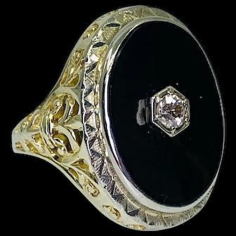 Mid-Century Vintage Black Onyx Ring