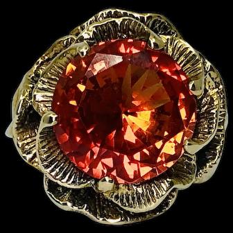 Vintage 10K Gold Floral Orange Sapphire Ring