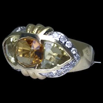 14K Gold Lemon Quartz, Citrine, and Diamond Ring