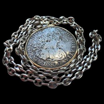 Shipwreck Treasure 1800 Eight Reale Coin encased in 18K Gold, Necklace by Douglas Zaruba