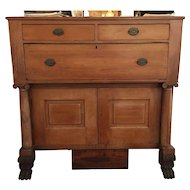 American Empire Pine Chest with Drawers, Lion Paw Feet, Eddy Family Heirloom