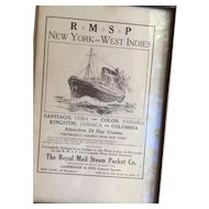 1891 Royal Mail Steam Packet New York-West Indies Framed Advertisement