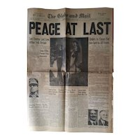 PEACE AT LAST Original August 15 1945 VJ Day Canadian Newspaper