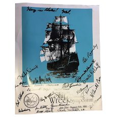 Original SIGNED Poster from 1985 Greater Ft. Lauderdale Shipwreck Symposium