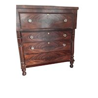 American Empire Book Matched Mahogany Veneer  Chest of Drawers Ca. 1833-1840
