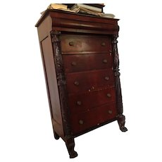 American Empire Chest of Drawers One Secret Drawer Carved Mahogany Pillars Lions Paw feet Ca. 1833-1840