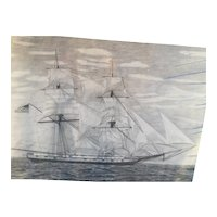 USS Brig Niagara Print  of Sea Trials by E J Lahy