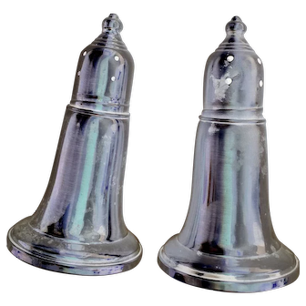 Salt and Pepper Shakers Pair Weighted Glass lined by Empire Sterling