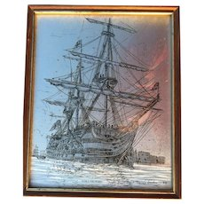 H.M.S Victory English Engraving by David Hawkes1982