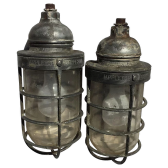 Marine Lamps Pair from Engine Room of 1930's Canadian Freighter