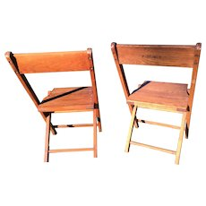 Oak Wood Folding Chairs with Brass Screws, Pair