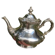 Pairpoint Quadruple Silver Plate Teapot Pattern Engraved with S