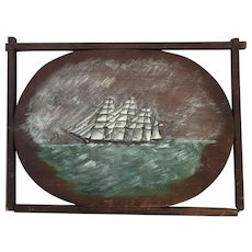 Nautical Painting on Wood by E Grosman of 4 Masted Barque