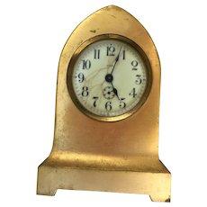 Vintage Beehive 8 Day Mantle Clock Gilt Metal Case