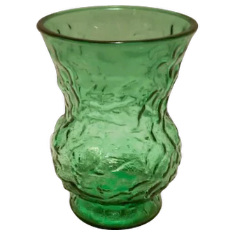 Vintage E.O. Brody C.O. Emerald Green Pressed Glass Vase Textured Pattern #6109