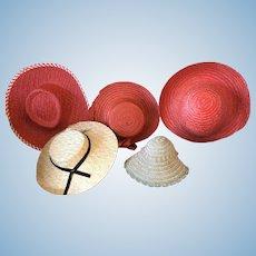 Five hats for vintage dolls