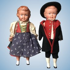 """Pair of 8"""" celluloid dolls"""