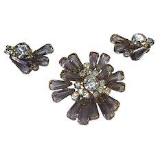Vintage Juliana Lavender Pin / Brooch Earrings Set
