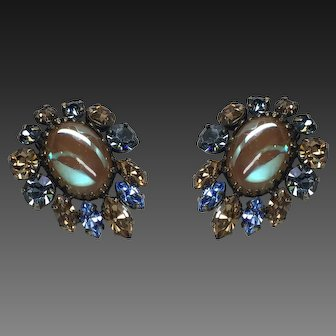 Vintage Saphiret Cabochon Blue Champagne Rhinestone Earring Clips  1 1/2 Inch size