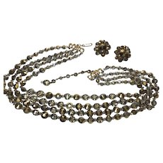 Hobe Metallic Aurora Borealis Crystal Multi Strand Necklace Earring Clip Set Signed  Vintage 4 strands