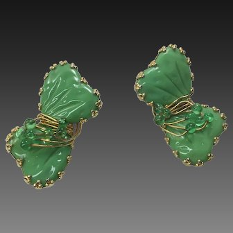 HOBE Mayorka KELLY  Green Glass Petal Earring Clips SIGNED