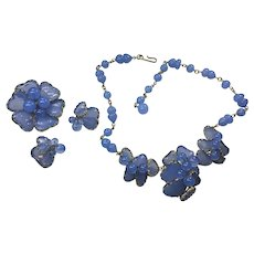 RARE Periwinkle Blue MAYORKA Poured Glass Petal Parure Set Necklace Pin Brooch Earring Clips Julio Marsella Volupte Hobe  59/60s ERA