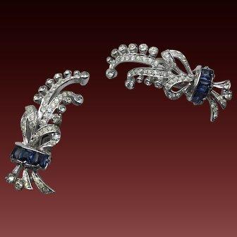 Sterling DeRosa Signed  Sapphire rhinestone Art Deco Earrings  1 5/8 inch in size
