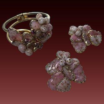 Vintage Pink Mayorka Poured Glass Petal Clamper Bracelet Matching Earring clips Huge signed