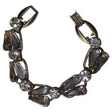 Juliana Lavender Rhinestone 5 link bracelet   Pentagon Cut stones 7 1/2 inch length