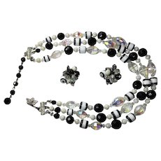 Vintage Vendome Black White Deco Style Necklace Earring Clip Set Glass  Crystal  Multi Strand (3)  signed