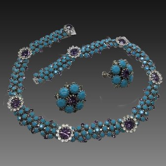 Hobe Signed Turquoise Amethyst Rhinestone Necklace Earring Clips Rhodium Plated