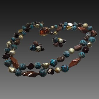 Vintage Hattie Carnegie Turquoise Brown  Gold Color Beaded Multi Strand Necklace Earring Set  Signed